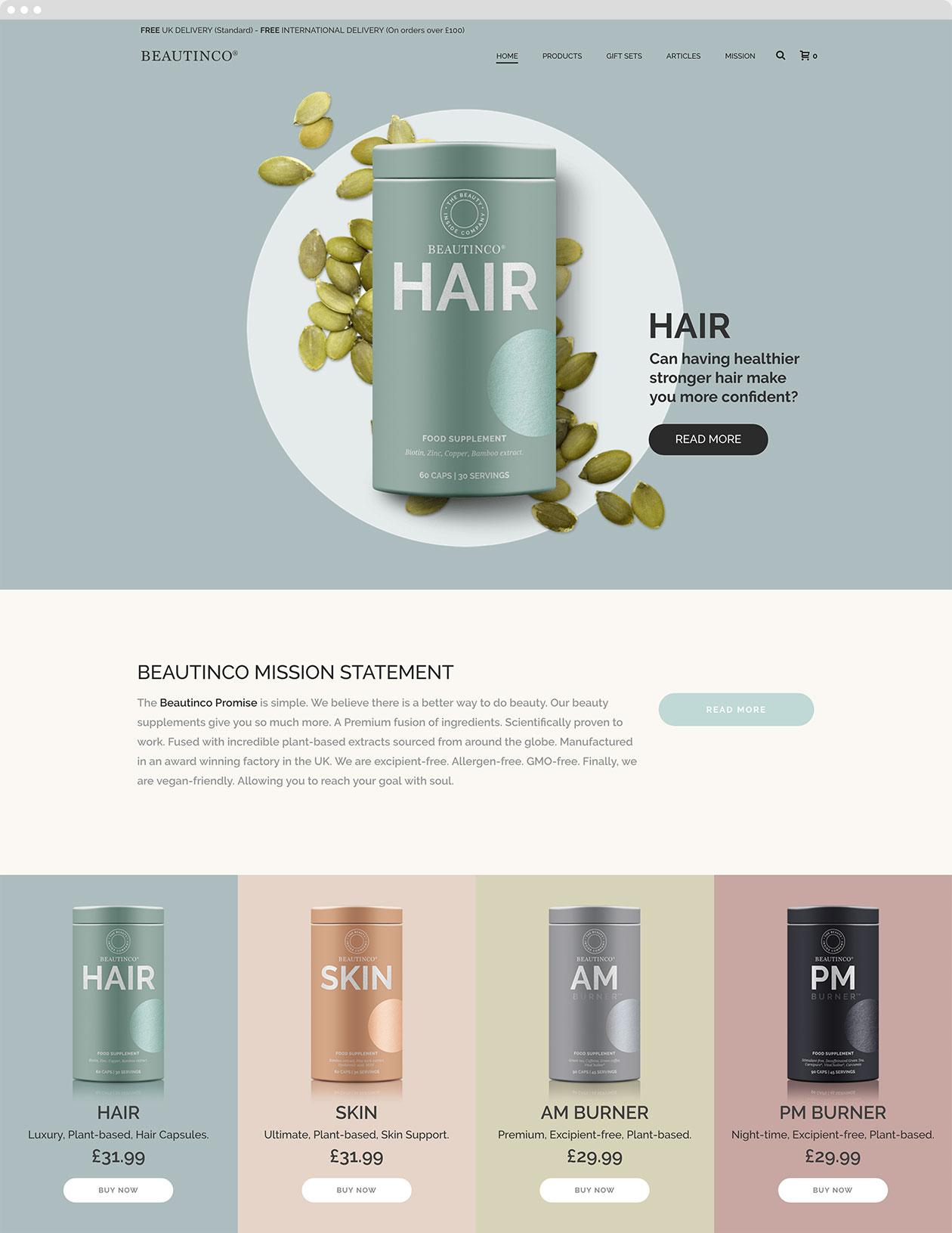 Website design screen for Beautinco website